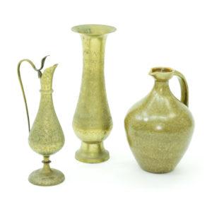 Variety of 9 individual vintage brass vessels.