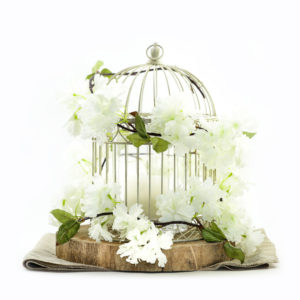 Vintage birdcage and flowers centrepiece.