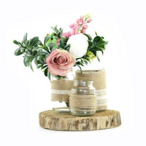 Vintage rustic floral centrepiece.