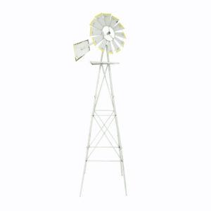 Tall grey iron windmill.