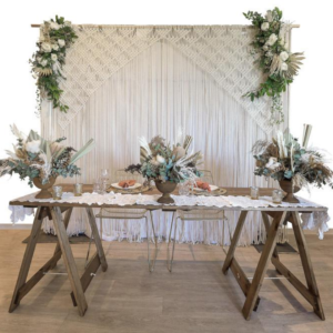 Macrame backdrop to add a boho feel to you event.