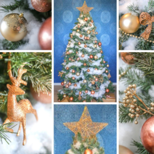 2.4m green Christmas tree covered with snow and styled with gold decorations. 