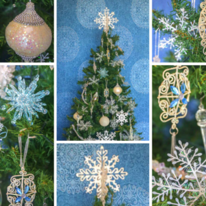 2m green Christmas tree covered with silver and blue decorations.  Styled decorations include a snow flake topper, silver, pearl and blue baubles as well as snowflakes.   Set up $190 | Hire $250 p/w | Removal $150 | Delivery TBC (depends on location)