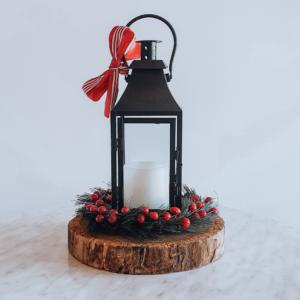 Black lantern Christmas centrepiece.