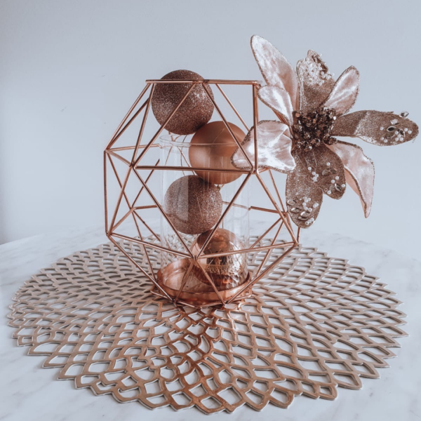 Rose Gold Geo Vase Christmas centrepiece.