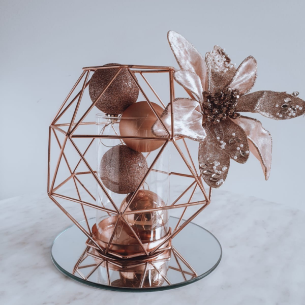 Rose Gold Geo Vase Christmas centrepiece with mirror base.
