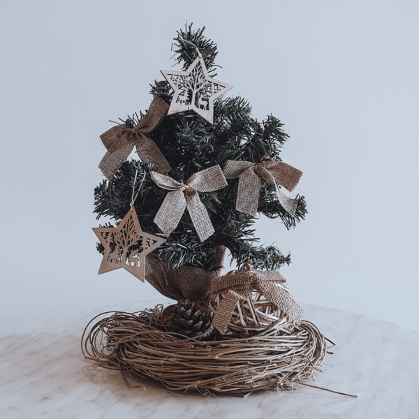 Natural Christmas tree in a nest style wreath - Christmas centrepiece.