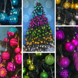 2m green Christmas tree covered with brightly coloured baubles. 