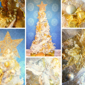 2.3m white Christmas tree covered with gold decorations.  Styled decorations include a gold star topper, gold and silver flowers, baubles and lace trimming.   Set up $190 | Hire $250 p/w | Removal $150 | Delivery TBC (depends on location)