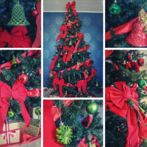 Large 2.9m green Christmas tree covered with traditional red and green decorations.  Styled decorations include a red bow topper, red and green baubles and bells and large red bows and ribbon.   Set up $190 | Hire $350 p/w | Removal $150 | Delivery TBC (depends on location)