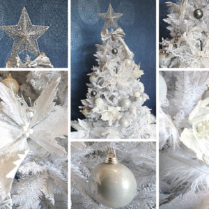2m white Christmas tree covered with silver and white decorations. 