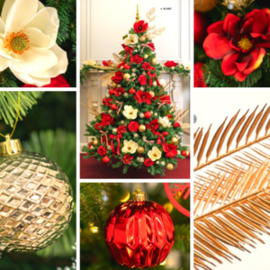 2.4m green Christmas tree covered with red, gold and white decorations. 