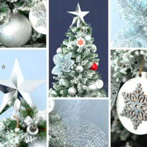 1.9m green Christmas tree covered with snow as well as silver, white and red decorations.  Styled decorations include silver flowers, white and red baubles and a large silver star topper. Set up $190 | Hire $400 p/w | Removal $150 | Delivery TBC (depends on location)
