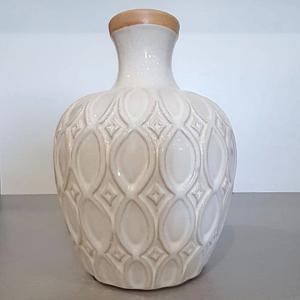 White boho ceramic vase.