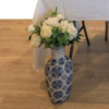Large Hampton's Vases (Blue and white) with faux white florals included.
