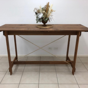 A beautiful rustic timber and rope high dry bar table. No need for a tablecloth with this stylish timber table as the exposed timber is a stunning feature. 