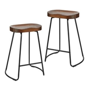 This rustic wooden bar stool with white legs will add a vintage vibe to your event. 75 cm high.