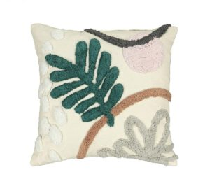 Textured Art Deco cushion, inspired with florals and hints of neutral tones