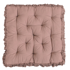 Large, square frilled floor cushion. Available in both cream & brown.